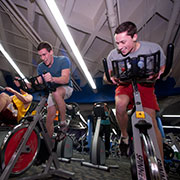 photo of two students in the fitness center