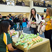 photo of students visiting a table at an organization fair