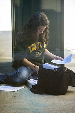 photo of a student studying