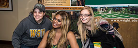 photo of two students posing for a photo with laverne cox