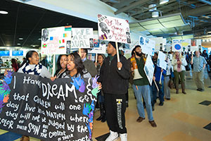 photo of students marching on martin luther king jr day
