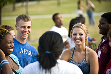 photo of students on campus in the summer