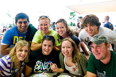 photo of smiling students in the student union