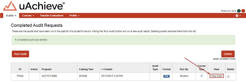 "View the audit by clicking the ""View Audit"" button"