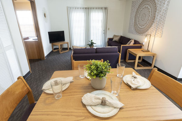 photo of the dining and living room in a college park apartment