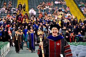 photo of faculty member at commencement