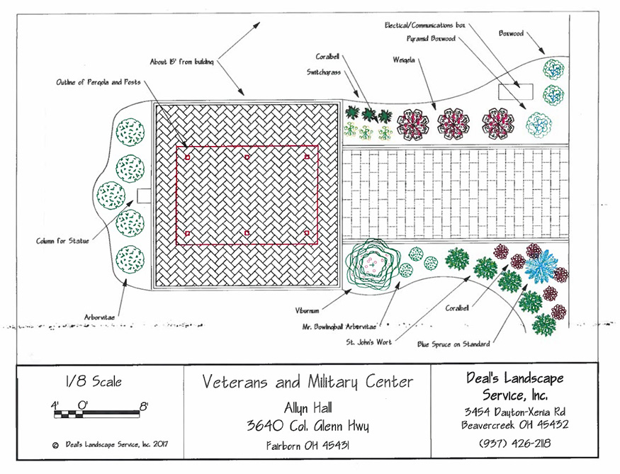 rendering of the proposed Veteran and Military Center Champion Garden including brick paved area and landscaping