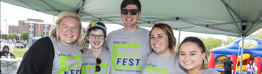 students posing for fall fest
