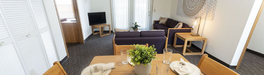 photo of the dining and living area in a college park apartment