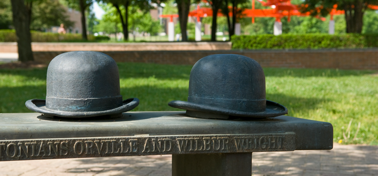 bench with bowler hats