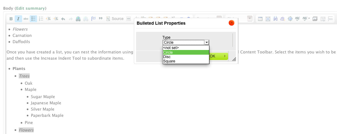 screenshot of Bulleted list icon options
