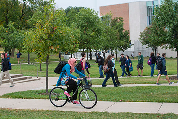 Campus scene with students