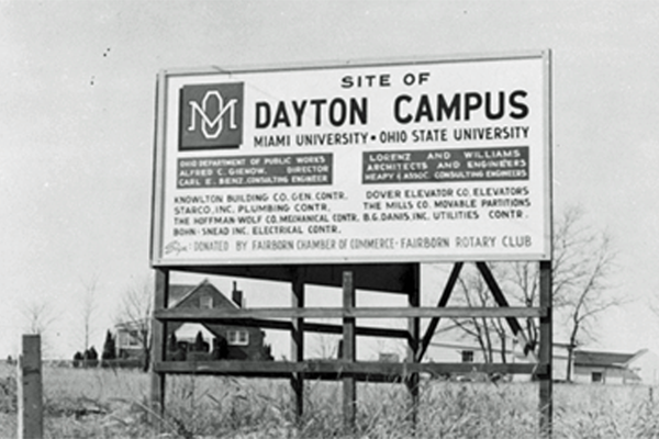 Sign on campus in 1964