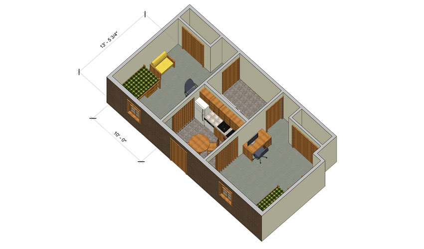 rendering of a Forest Lane studio apartment with furniture