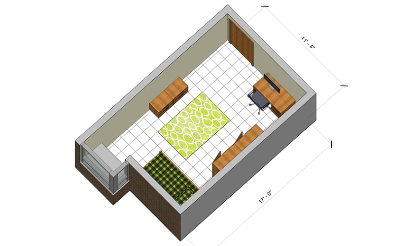 rendering of a Hamilton Hall single room with furniture