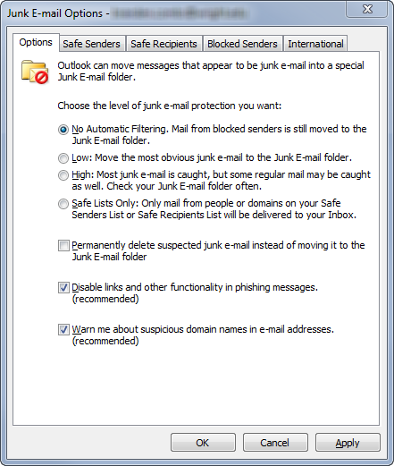 screen capture of junk email options in outlook window
