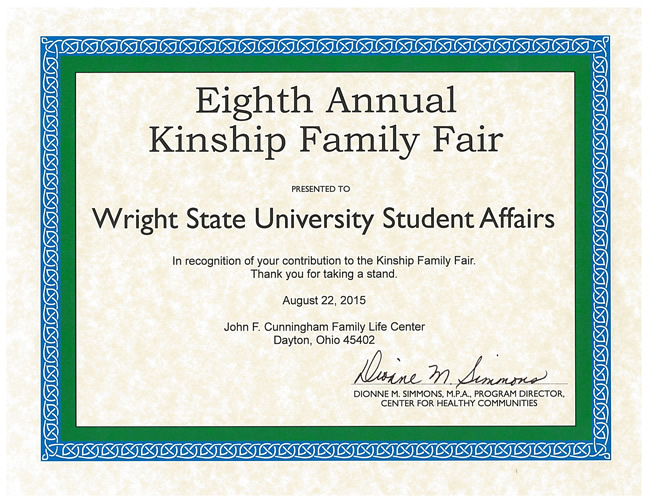 Kinship Appreciation Certificate 2015