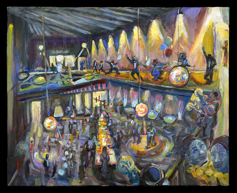 Nancy Shuler's painting of the artsgala night which won 1st place in the student competition