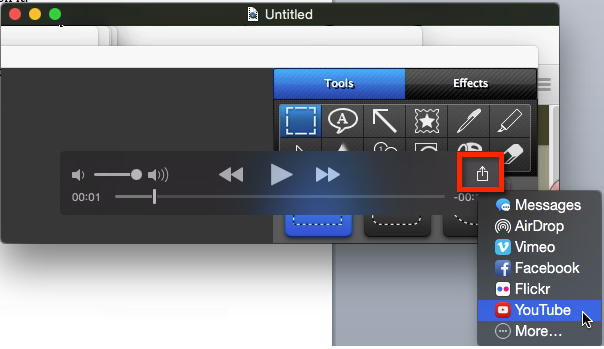 Quicktime Share Menu options