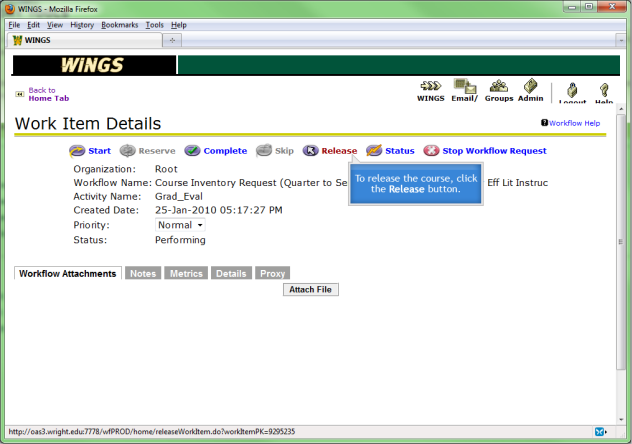 screenshot of the work item details page