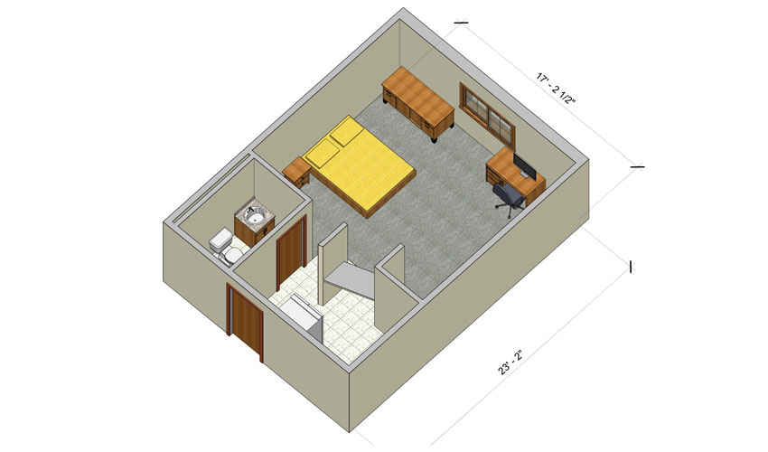 rendering of a Village deluxe efficiency apartment with furniture