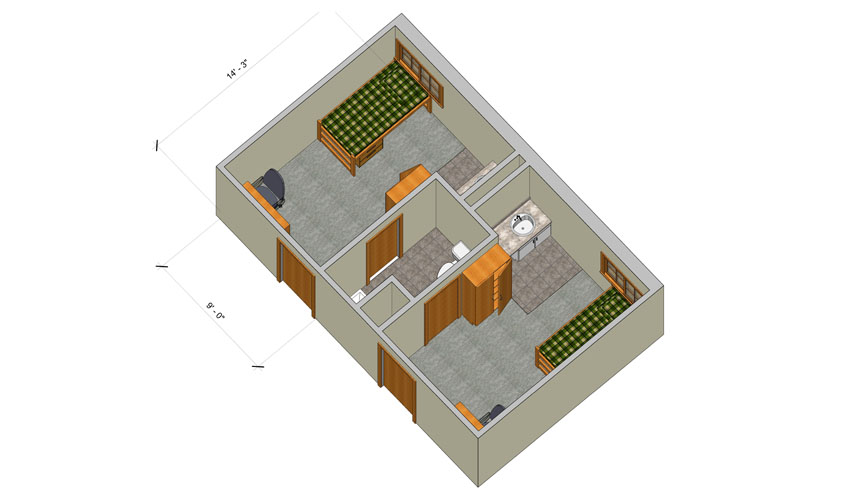 rendering of a Woods single room with furniture