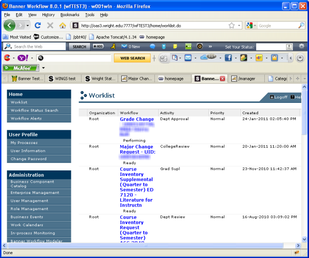 screenshot of the worklist page