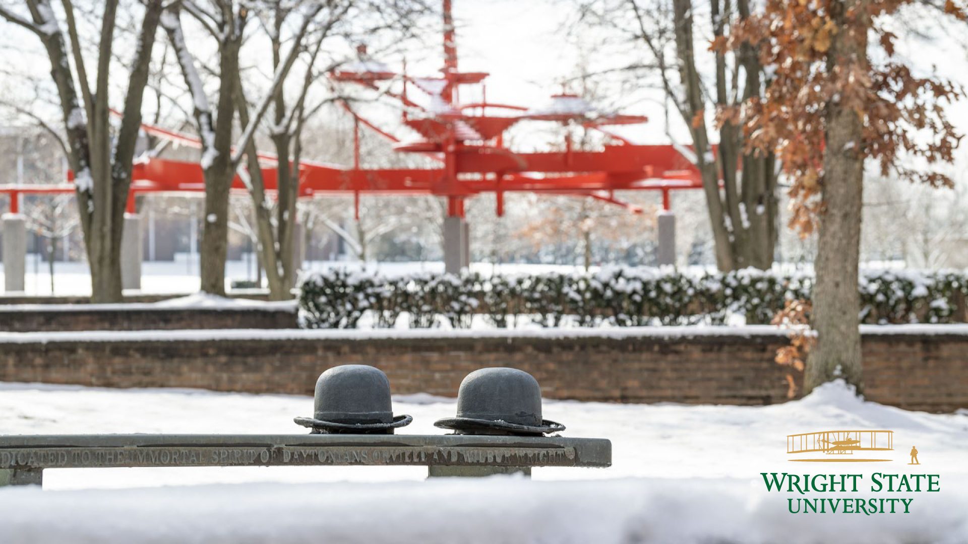 photo of campus with snow