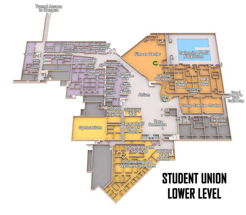 Wright State Student Union lower level Map