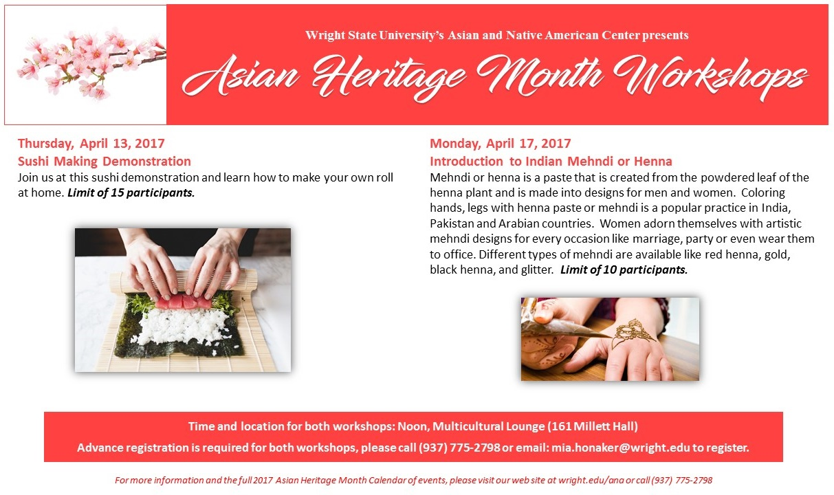 wright state asian heritage month workshops
