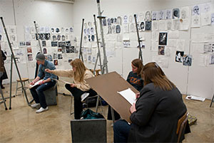 Students Drawing in Art Studio