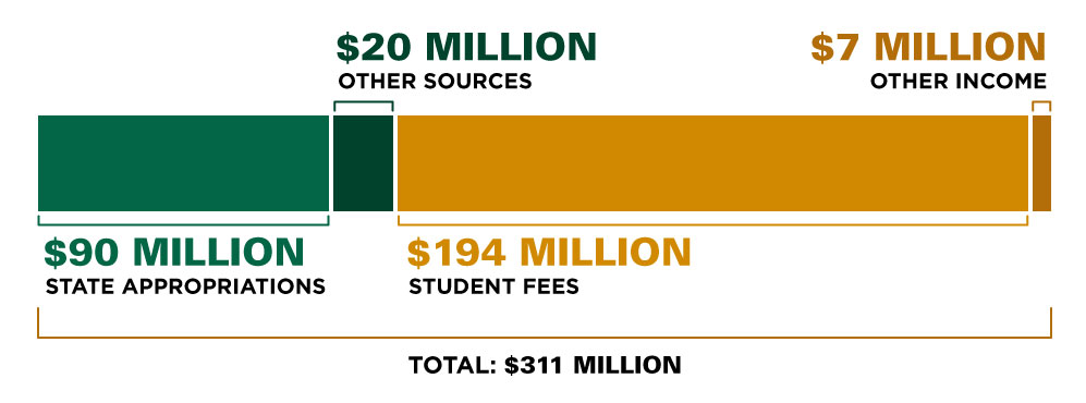 University Income (Budgeted), 2015–16: State Appropriations $90 million; Other Sources $20 million; Student Fees $194 million; Other Income $7 million; Total $311 million