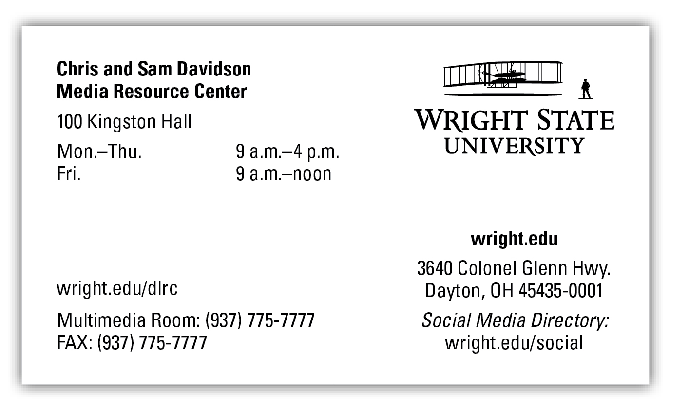 Wright State University Business Card - Campus Template