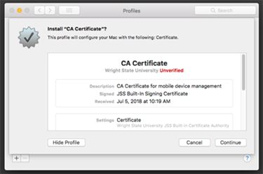 screen capture of the casper ca certificate install continue window