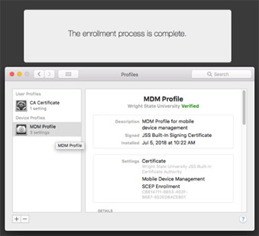screen capture of the casper mdm profile install verified window