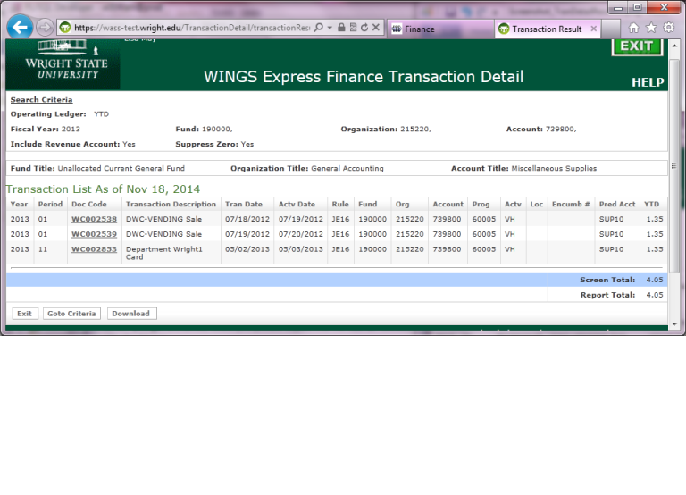 Transaction Detail Output