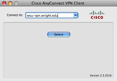 screen capture of the cisco anyconnect vpn client window
