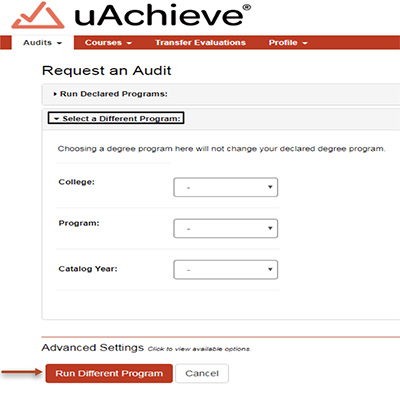 Use the dropdown menus to select your desired college, program, and catalog year.