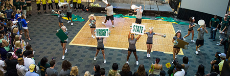 Cheerleaders at a wright state volleyball game