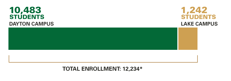 Enrollment, Fall 2018: Dayton Campus: 14,038; Lake Campus: 1,189; Total Enrollment: 15,558