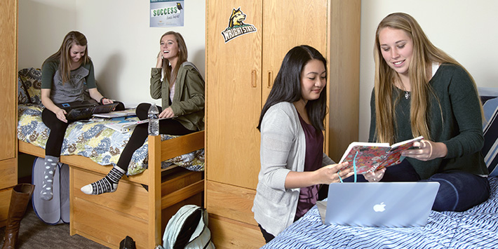 women sitting in their dorm provided by wright state university