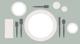 Graphic image of formal place setting on a placemat.