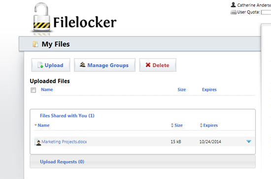 screen capture of the filelocker uploaded files screen