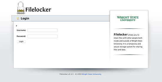 screen capture of the filelocker log in screen