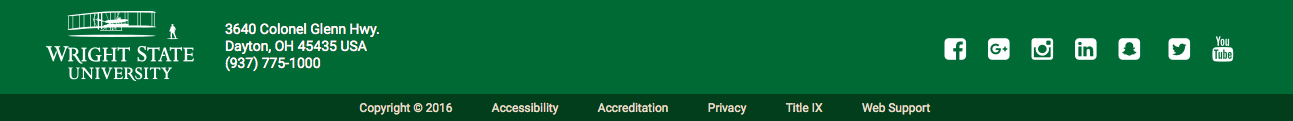 Wright State website footer