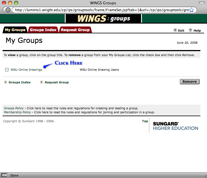 screenshot of wings groups online drawings