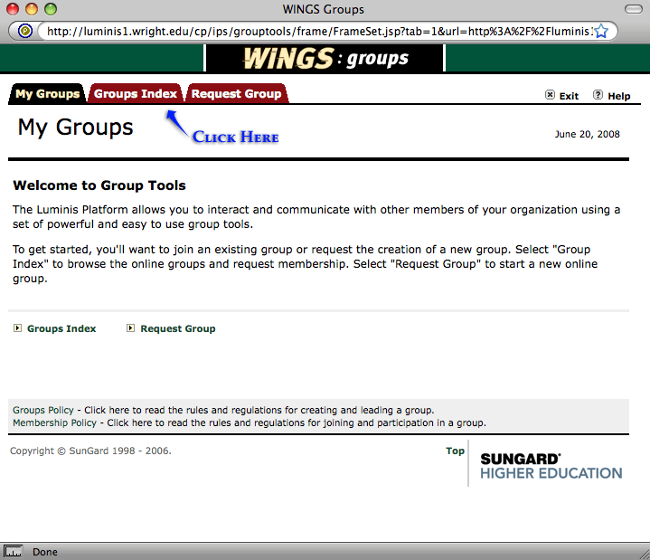 screenshot of the wings groups page