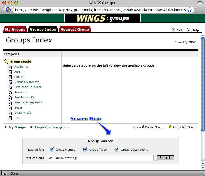 screenshot of the wings groups search page