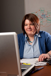 photo of a student at a computer