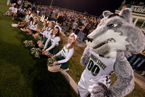 photo of rowdy and cheerleaders